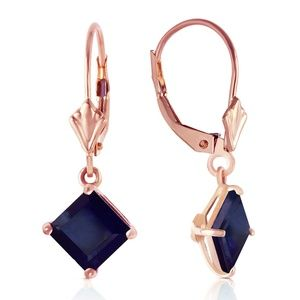 14K GOLD LEVERBACK EARRING WITH NATURAL SAPPHIRES